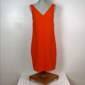 V-neck orange mini dress